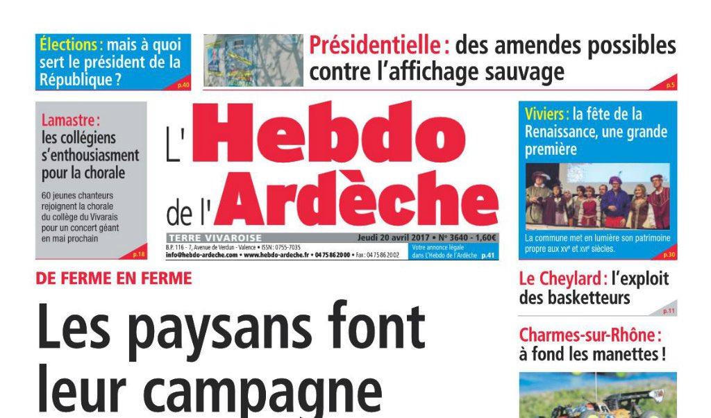 Journal d'annonces légales L'Hebdo de l'Ardèche