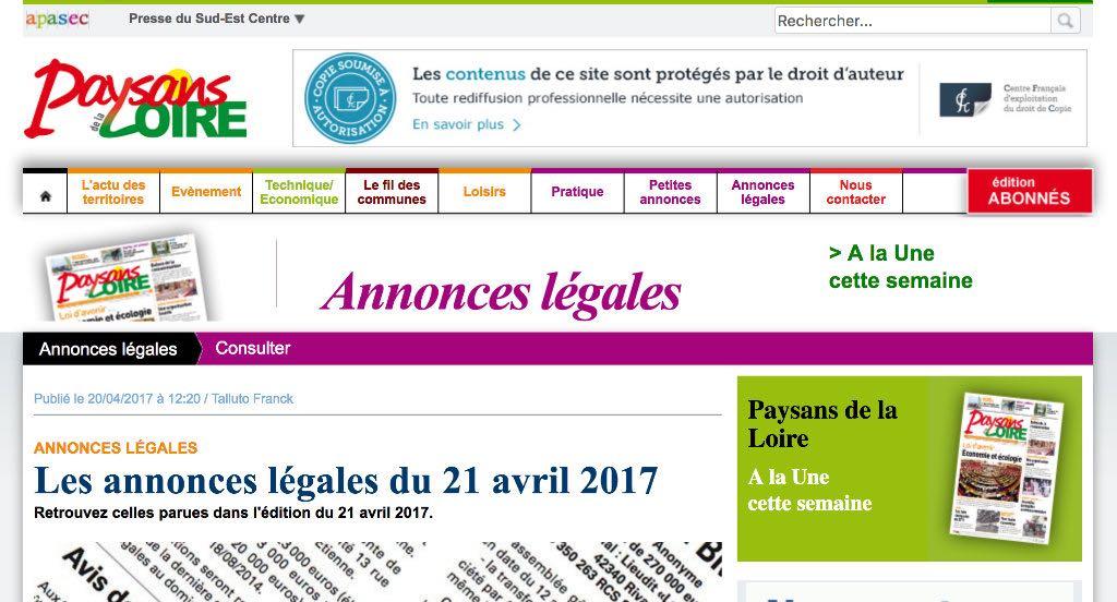 Journal d'annonces légales Paysans de la Loire
