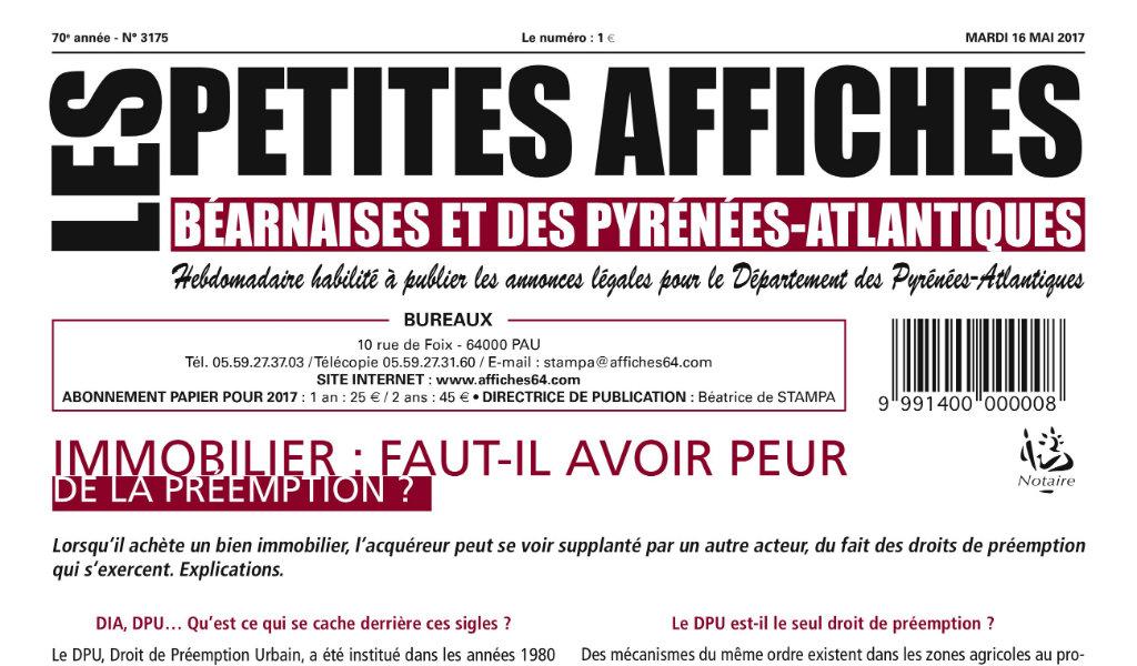 Journal d'annonces légales Les Petites Affiches Béarnaises