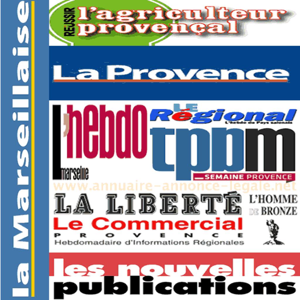 Journaux d'annonces légales département Bouches-du-Rhône