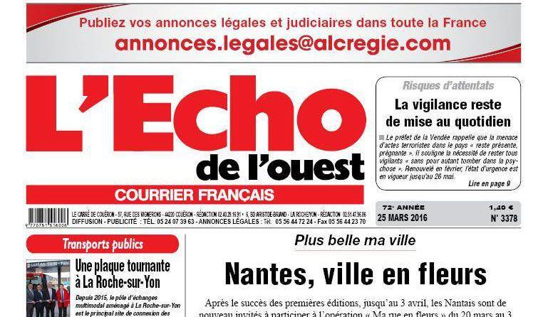 Journal d'annonces légales L'Echo de l'Ouest
